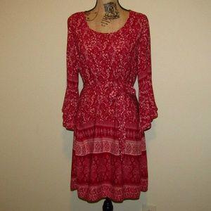 Blue Rain Red BOHO Dress Sash Paisley M